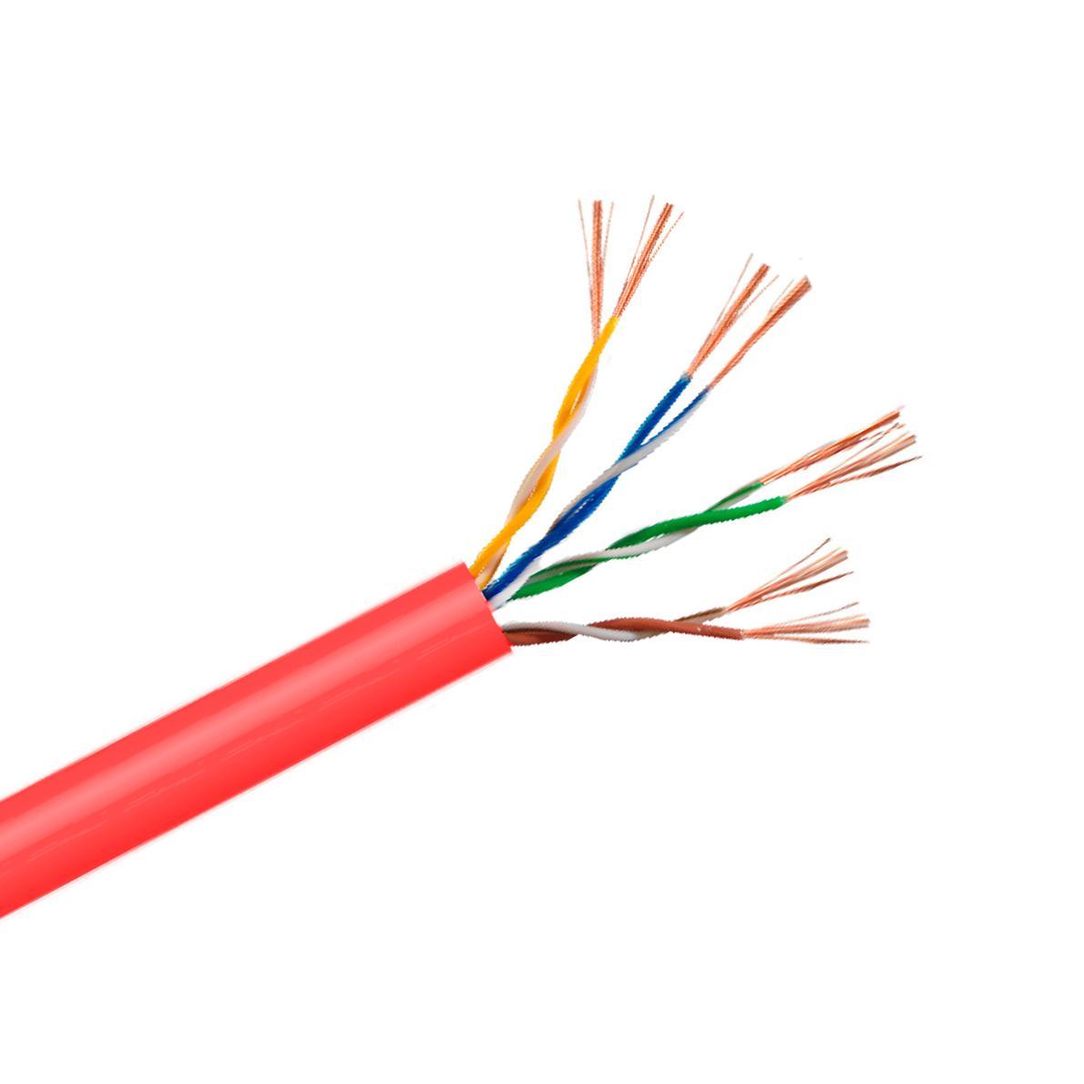 Cable Cat. 6 UTP LSZH Cca flexible 100m. rojo